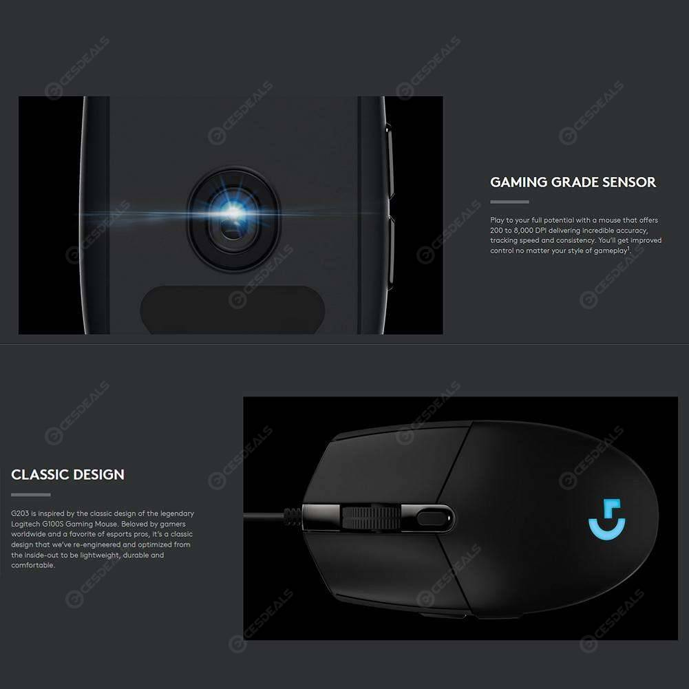 Logitech G102 Gaming Mouse Programmable 6000DPI RGB Wired Mouse (Black)