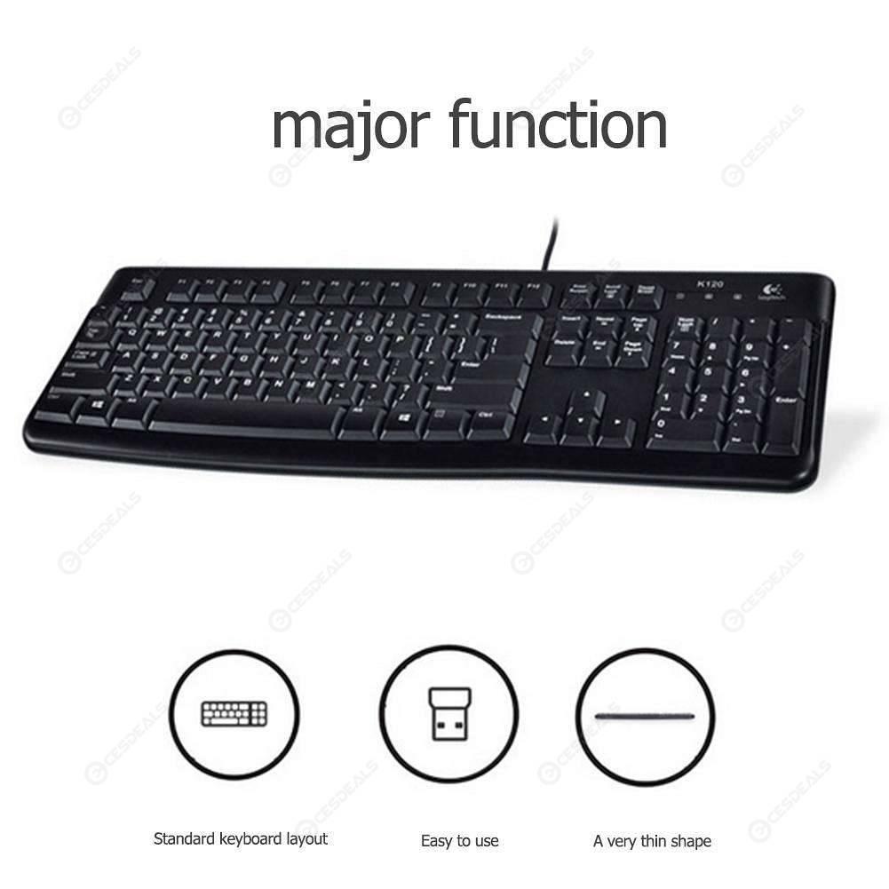 Logitech K120 USB Wired Keyboard Spill-Resistant 108 Keys Keyboard for PC