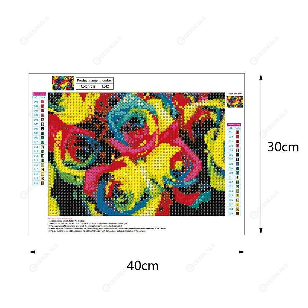 5D DIY Full Drill Diamond Painting Colorful Flowers Cross Stitch Embroidery