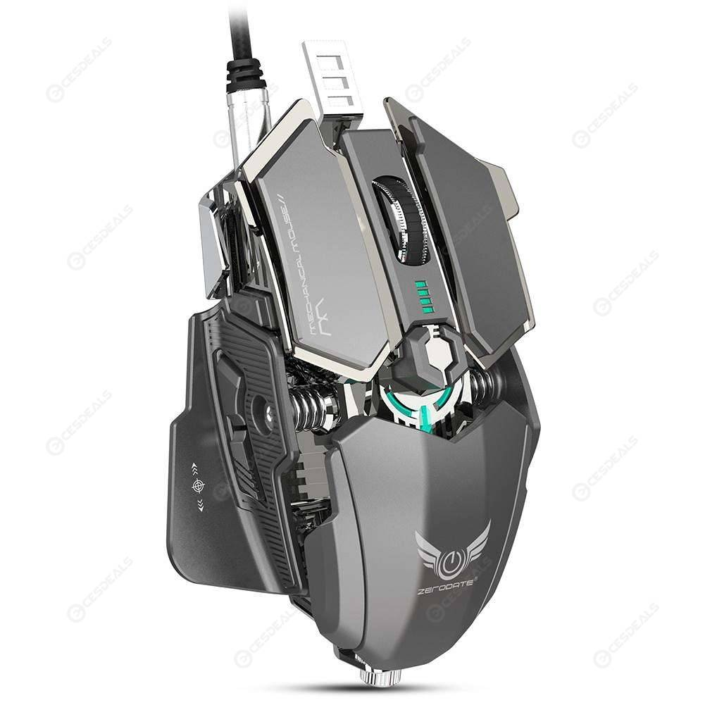 Zerodate MS500 Gaming Mouse 10 Programmable Buttons Wired Mouse (Grey)