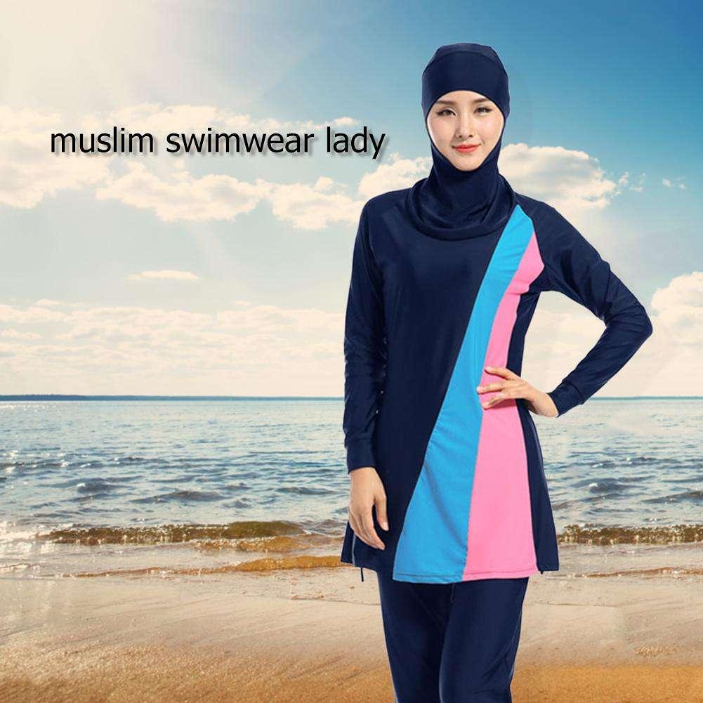194ba5f0fb9 3pcs/set Muslim Swimwear Women Modest Islam Arab Beachwear (Dark Blue)(L ...