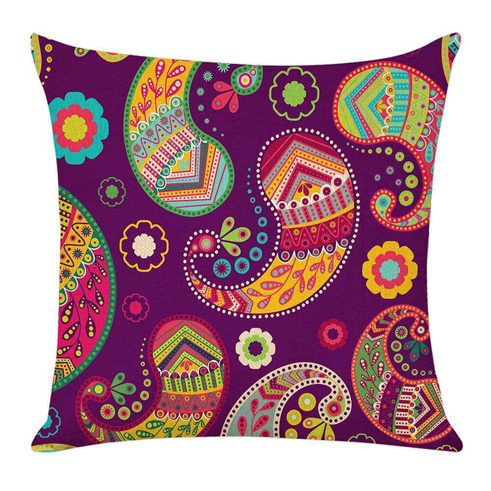 Flax Cushion Cover Ethnic Style Floral Print Pillow Case