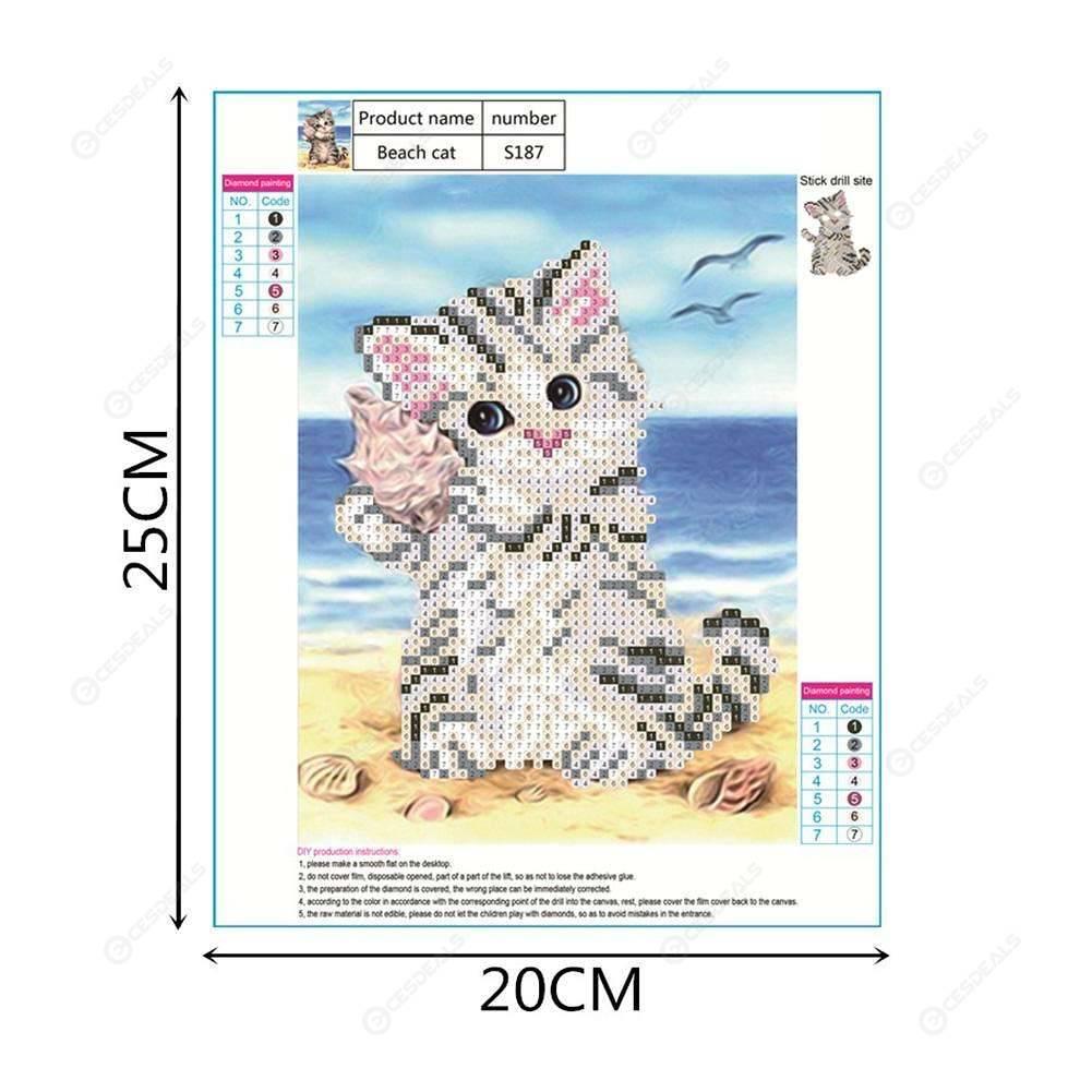 5D DIY Diamond Painting Cat Cross Stitch Embroidery Mosaic Kit Needlework