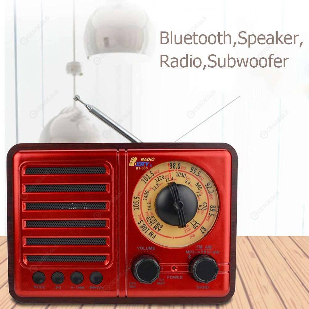Retro Bluetooth Speaker Subwoofer Speaker Heavy Bass Wooden Radio (Red)