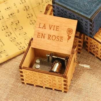 Antique Wooden Music Box Hand Cranked Musical Box Gift (La vie en rose)