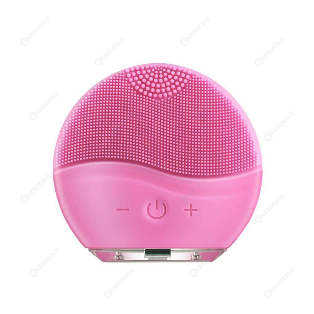 Electric Facial Cleansing Brush Face Cleaner Silicone Pore Cleanser (Pink)
