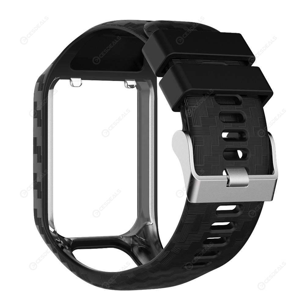 Silicone Watchband Bracelet Watch Strap Band for TomTom Series 2/3 (Black)