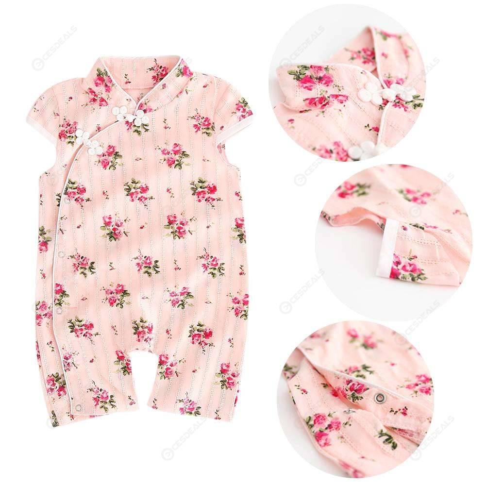 Chinese Style Baby Flower Cheongsam Jumpsuit Kids Girls Short Sleeve Romper