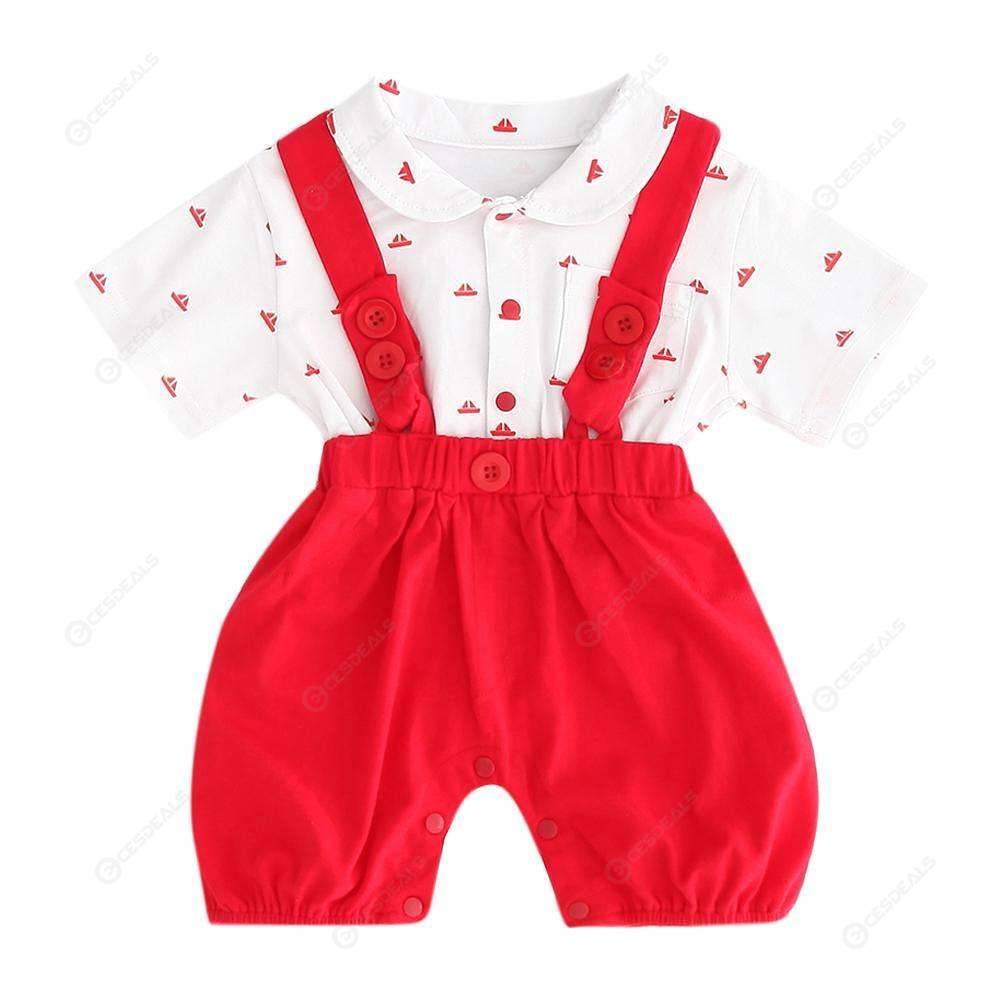 Fake 2pcs Short Sleeve Jumpsuit Kids Boys Gentleman Romper Baby Clothes