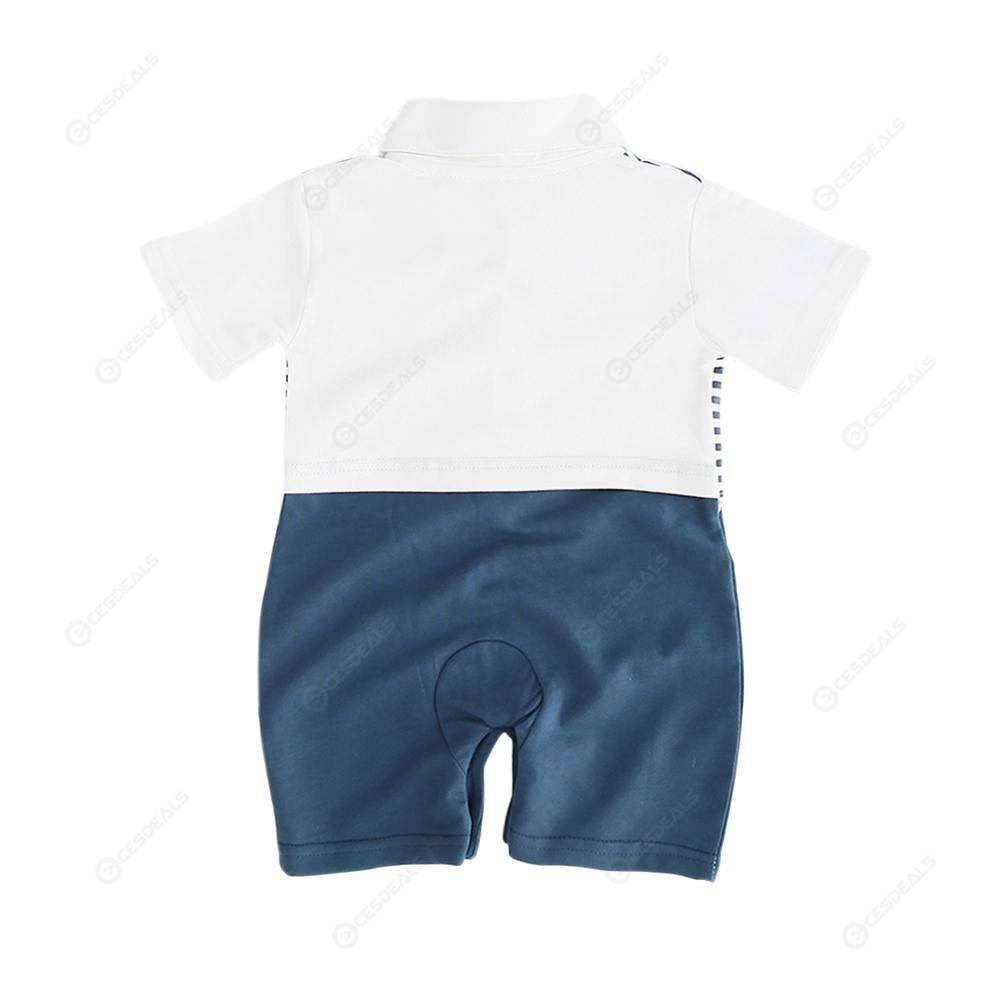 Baby Bowknot Stripe Short Sleeve Jumpsuit Kids Boys Gentleman Star Romper