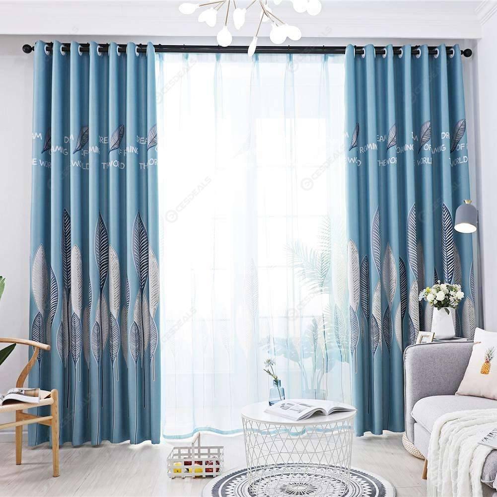 1pc Leaves Print Semi Blackout Curtains Bedroom Windows Drapes Sky Blue