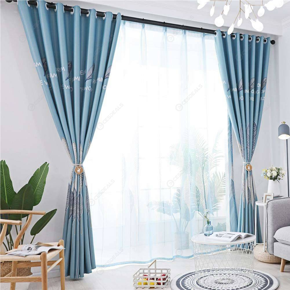 1pc Leaves Print Semi-Blackout Curtains Bedroom Windows Drapes (Sky Blue)