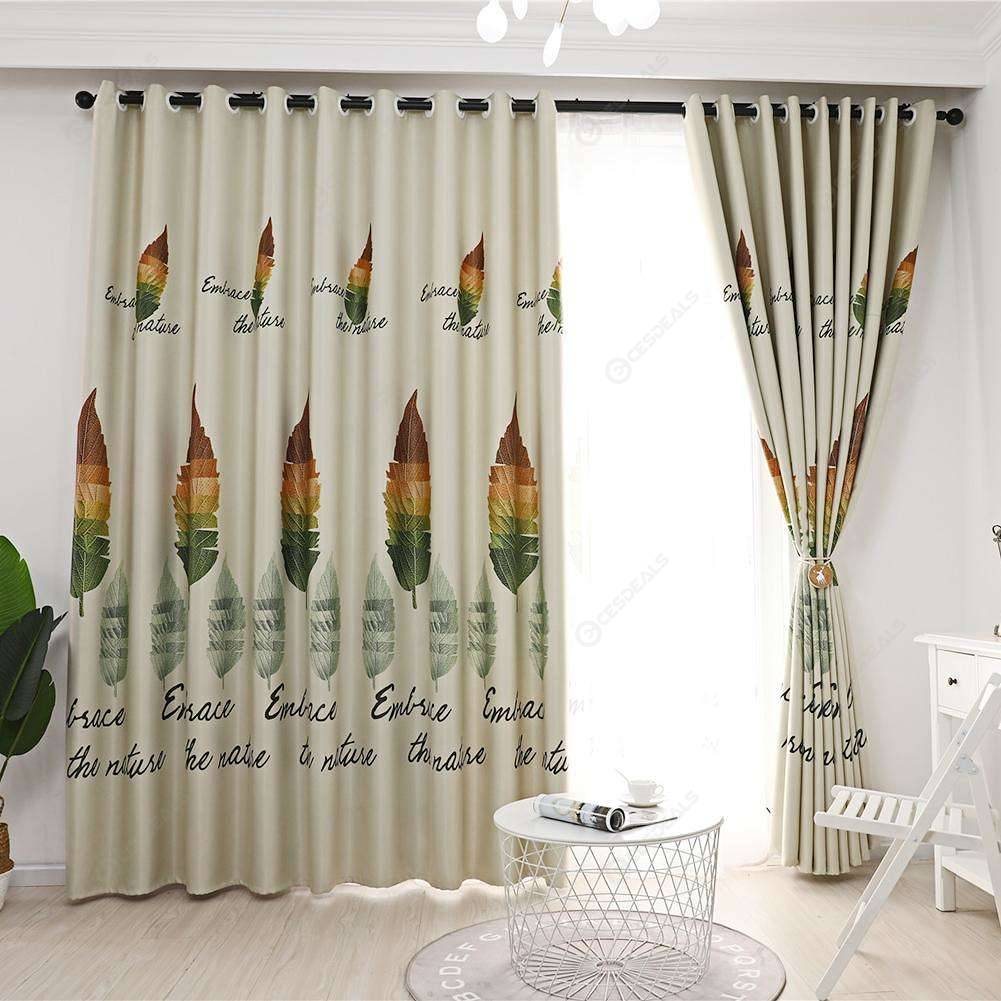 1pc Retro Leaves Print Semi-Blackout Curtains Bedroom Windows Decor Drapes