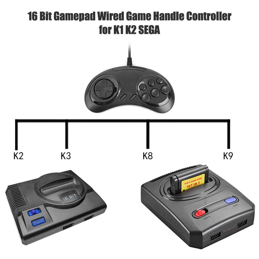 16 Bit Gamepad Wired Game Handle Controller Joystick Game Console for K1 K2