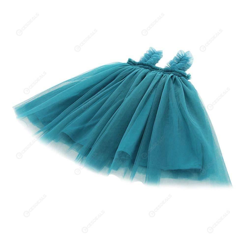 Solid Color Baby Sling Dress Kids Girls Mesh Sleeveless Princess Dresses