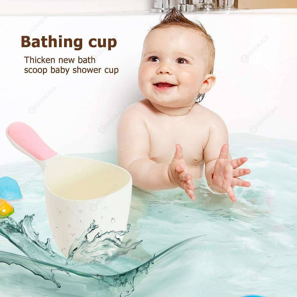 Thicken Baby Bath Water Ladle Scoop Kids Wash Hair Shampoo Rinse Cup (Pink)