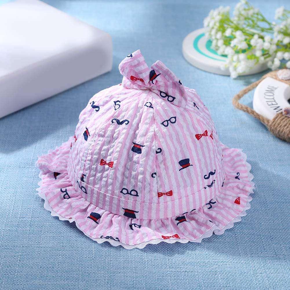 b891f9b0 Cute Baby Sun Hats Girls Princess Cotton Stripe Bowknot Children Cap (Pink)  ...