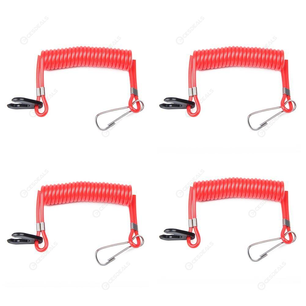 4PCS Boat Outboard Engine Motor Safety Tether Lanyard Kill Switch For Yamaha