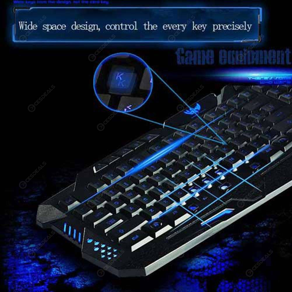 A877 114-Key LED Backlit Wired USB Gaming Keyboard Black