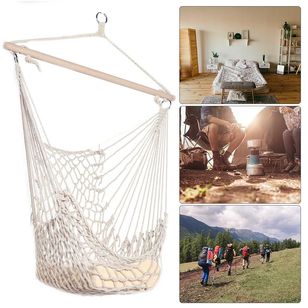 Cotton Rope Hammock Net Swing Hanging Chairs Kids Adults Outdoor Cradles