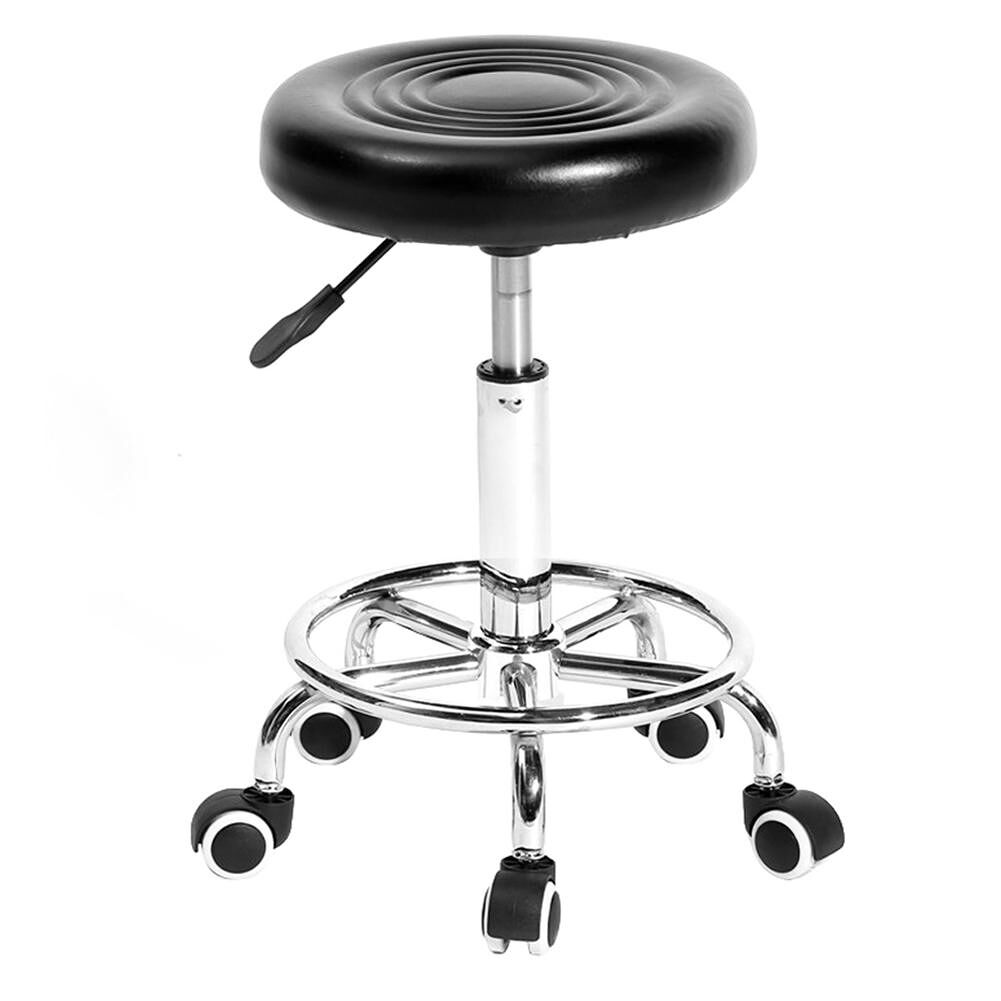 Adjustable Work Rotating Round Chair 5 Rolls Leather Lift Bar Swivel Stool