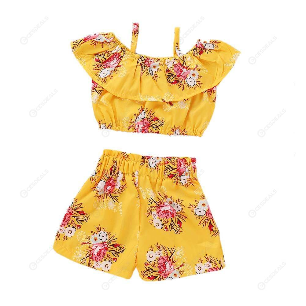 2pcs/set Summer Flower Print Kid Girls Ruffle Casual Sling Tops Short Pants
