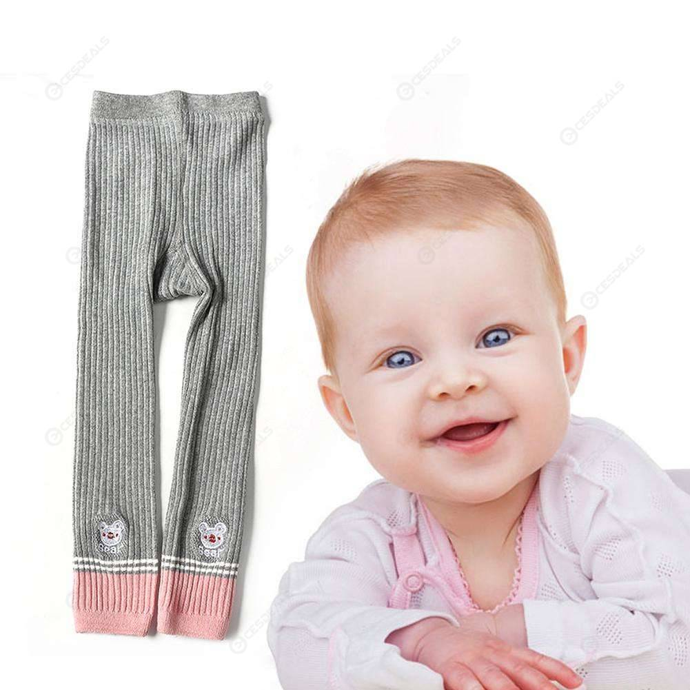 Cartoon Bear Print Leggings Kid Girls Autumn Knitted Cotton Long Pants (S)