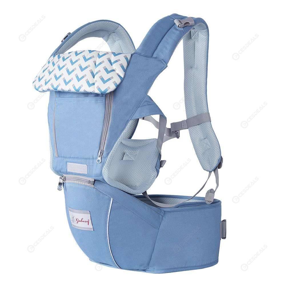Gabesy 3 in 1 Waist Stool Breathable Baby Carrier Backpacks (Light Blue)