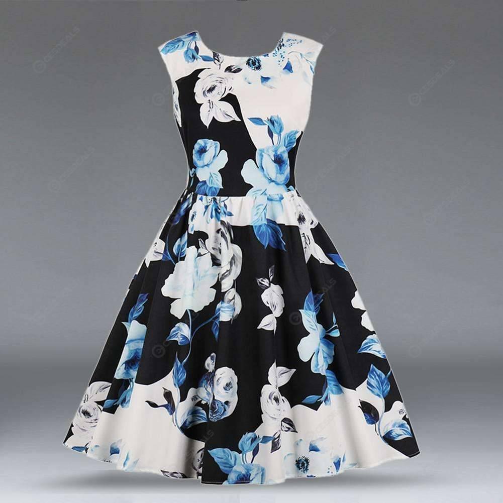 ef419e730556 Vintage Floral Print Sleeveless Women Zipper Elegant Swing Dress (Blue)(M)  ...