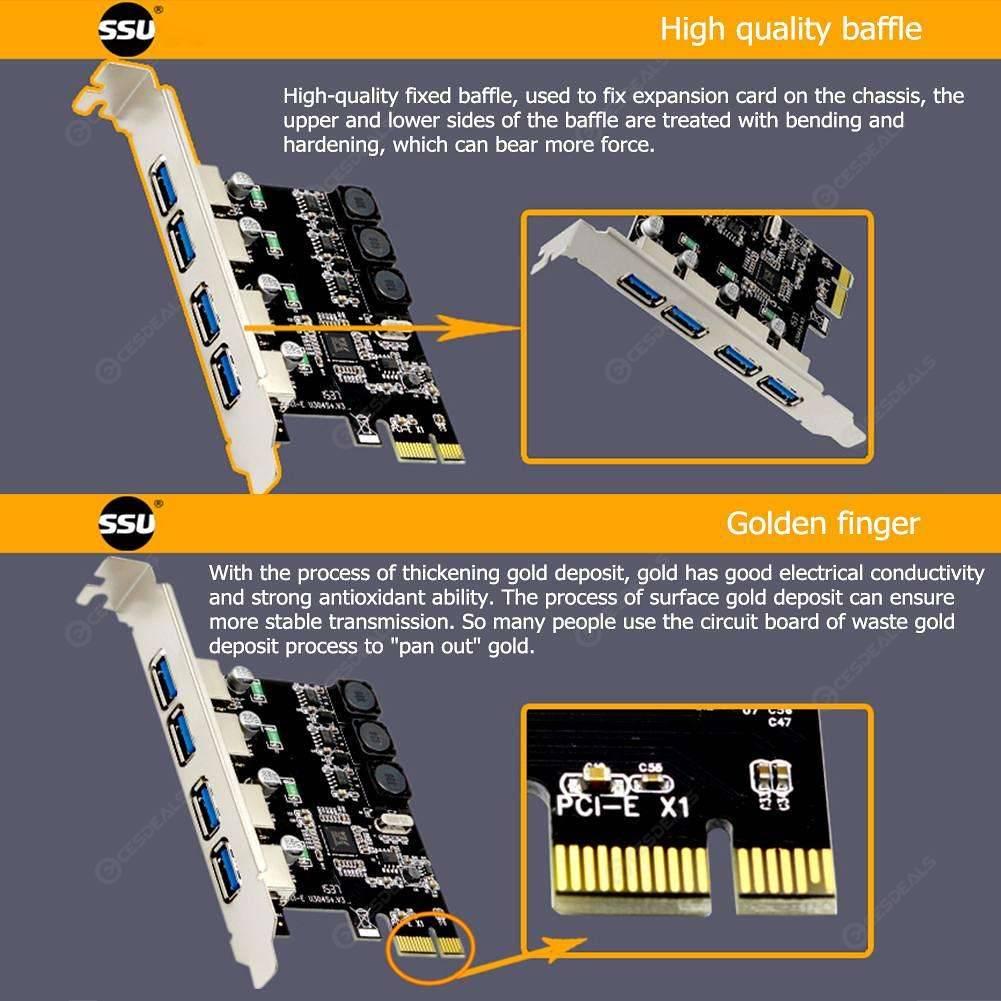 SSU U3V04S+ 4 Port USB 3 0 PCIe Expansion Card PCI Express USB Hub Adapter