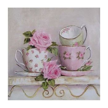 5D DIY Full Drill Diamond Painting Pink Cups Cross Stitch Embroidery Kits