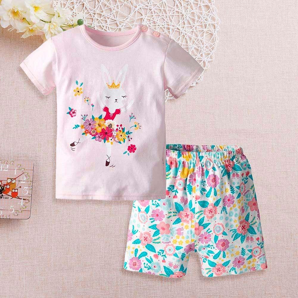 062dfb95c622 2pcs Cute Girl Short Sleeve T-Shirt Shorts Home Clothing Set (Pink)( ...