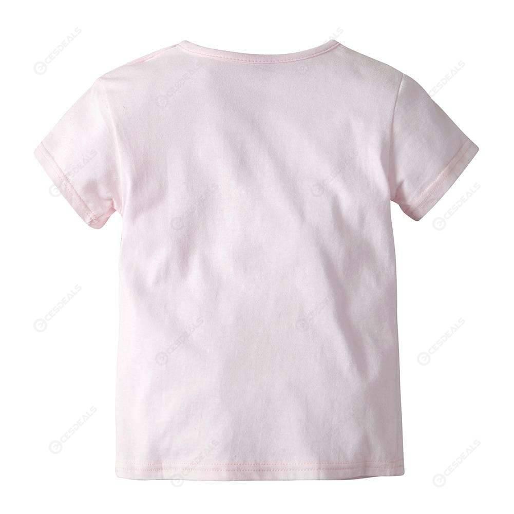 2pcs Cute Girl Short Sleeve T-Shirt Shorts Home Clothing Set (Pink)(6-12M)