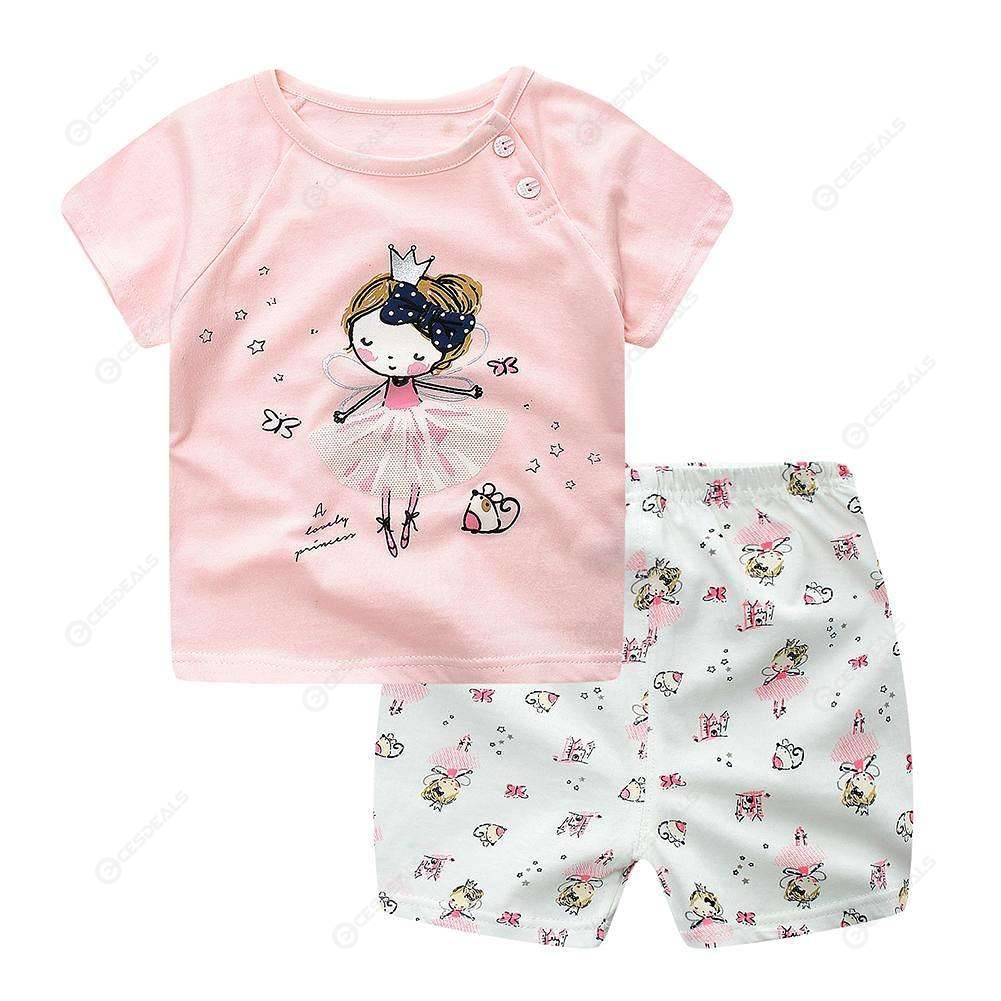 2pcs Girls Home Clothes Set Cute Short Sleeve T-Shirt Shorts (Pink)(6-12M)
