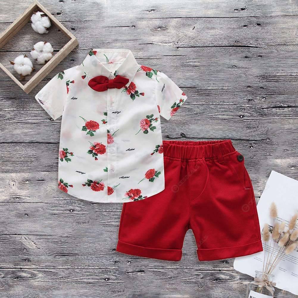 2pcs Boys Floral Short Sleeve Shirt Shorts Gentleman Outfits Set (12-18M)