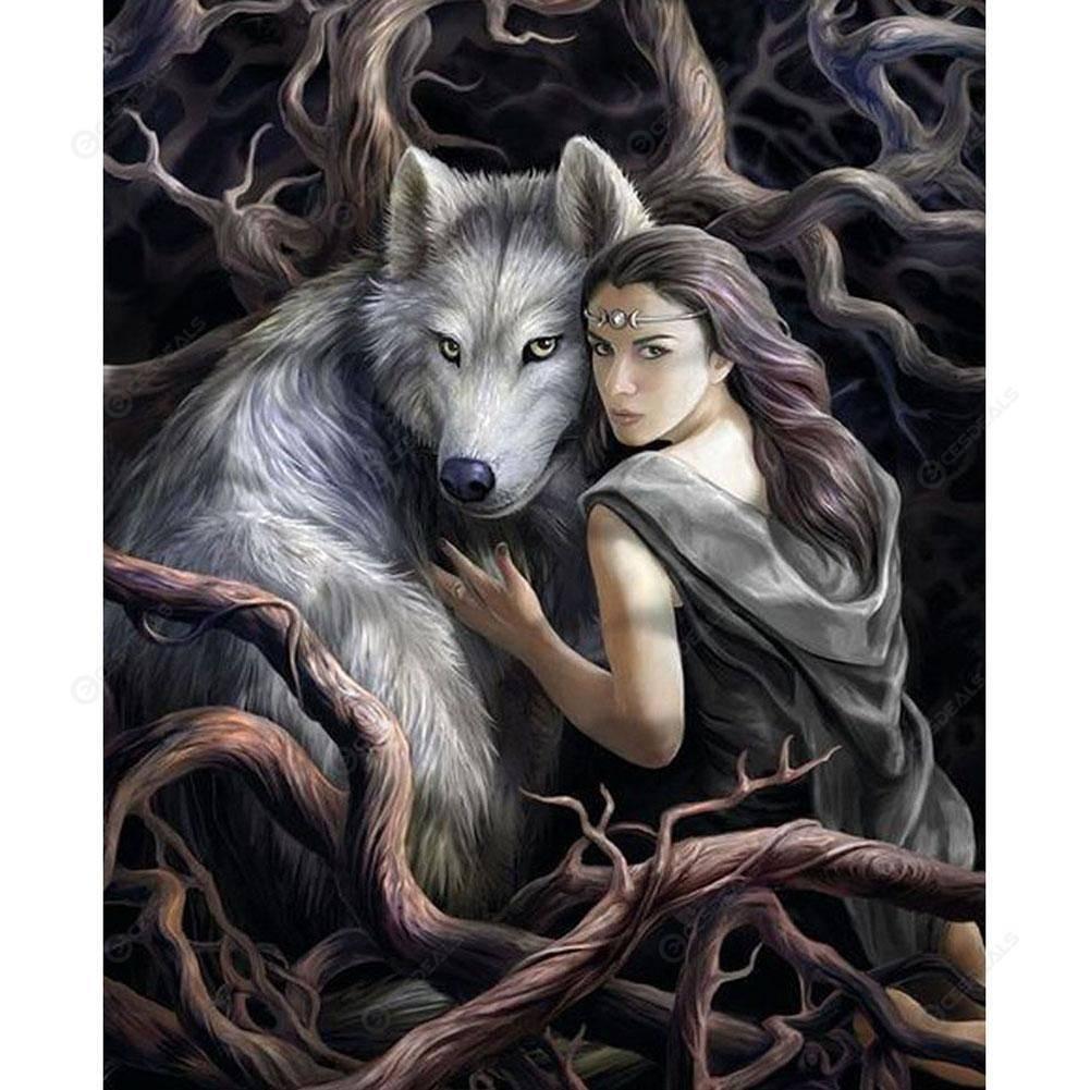Wolf and Little Girl Diamond Embroidery 5d Diamond DIY Painting Cross Stitch