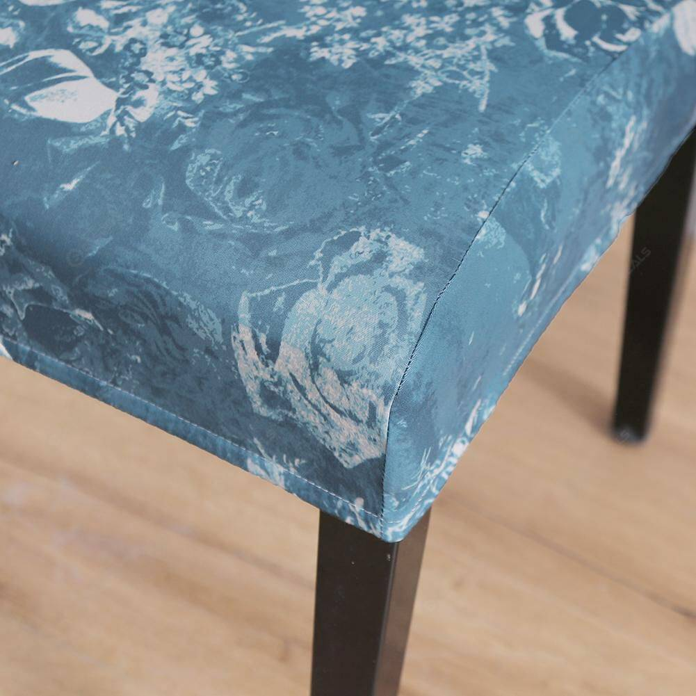 Blue Rose Digital Printed Elastic Chair Cover Stretch Seat Protector (1pc)