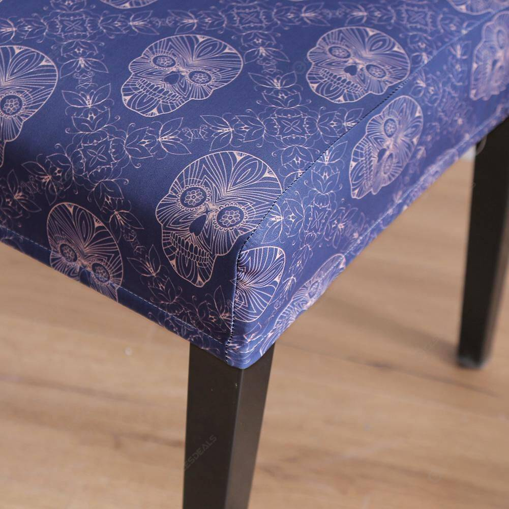 Skull Printed Elastic Chair Cover Stretch Slipcovers Seat Protector (6pcs)