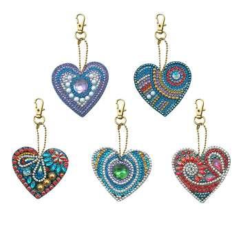 5pcs DIY Full Special Shaped Love Heart Diamond Painting Keychain Pendant