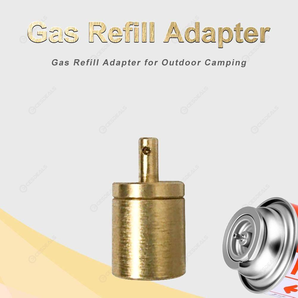 Brass Gas Refill Adapter for Outdoor Camp Hiking Stove Inflate Butane Canister