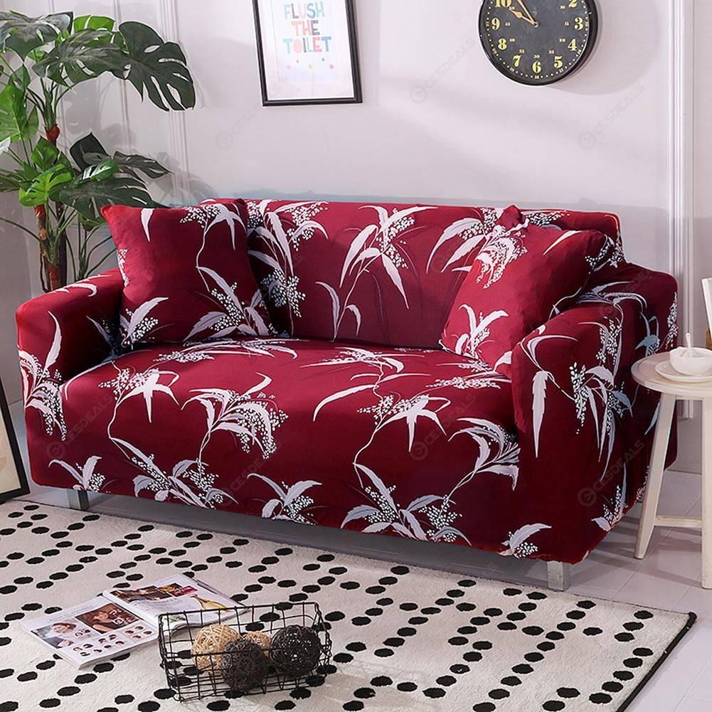 Elegante Blumen Stretch Tight Wrap Slipcover Sofa Couch Cover (4 Sitze)