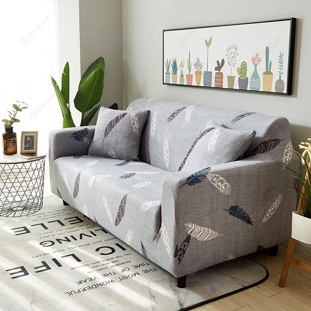Feathers Print Stretch Tight Wrap Slipcovers Elastic Sofa Cover (4 Seater)