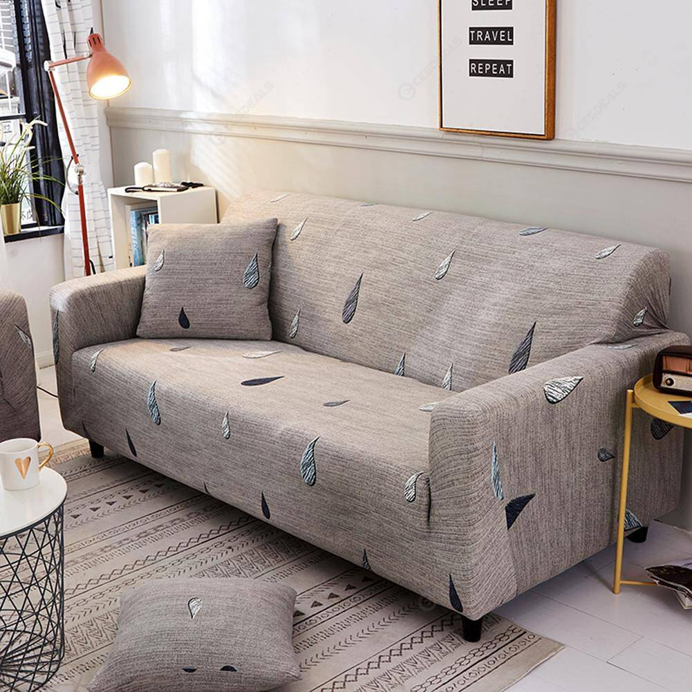 Raindrop Print Tight Wrap Slipcovers Elastic Sofa Couch Cover (4 Seater)