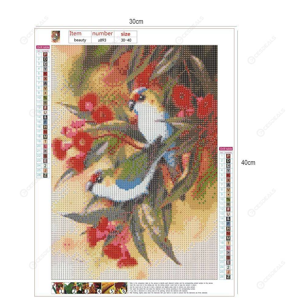 5D DIY Full Drill Diamond Painting Spring Birds Cross Stitch Embroidery Kit