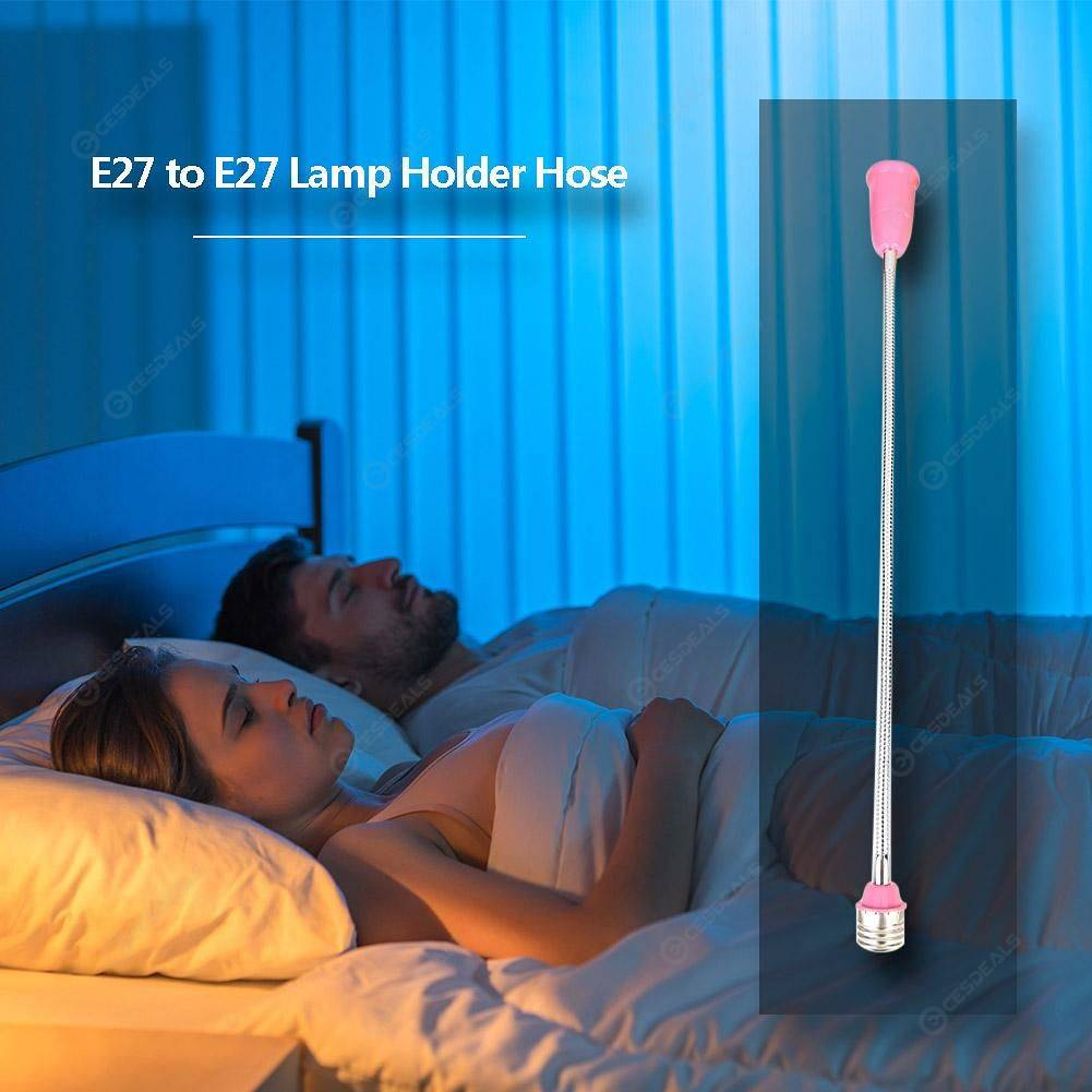 Conversion Lamp Flexible Extension Socket Hose E27 Bulb Holder (Pink)