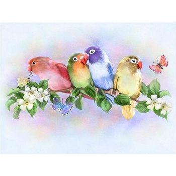 5D DIY Full Drill Diamond Painting Chatting Birds Cross Stitch Embroidery