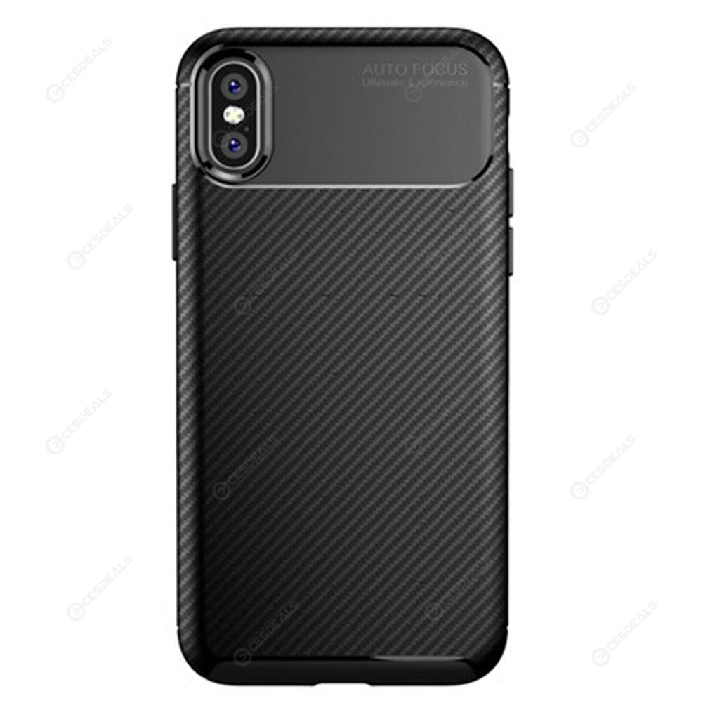 0ce4aac9d95df3 Shockproof Phone Case for iPhone X/XS Soft TPU Carbon Fiber Bumper Cover