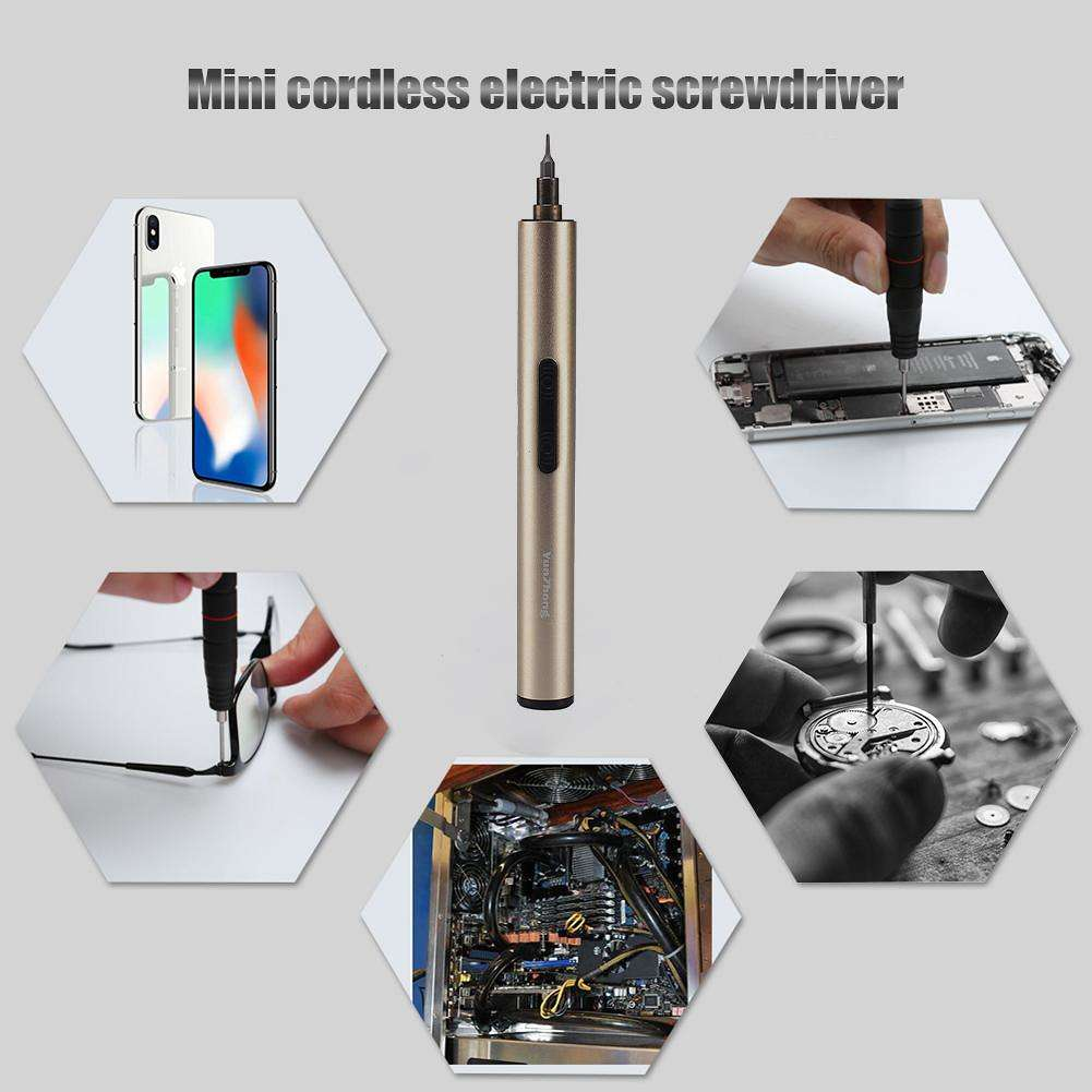 Mini S2 Rechargeable Cordless Electric Screwdriver Phone Repair Tool (Gold)