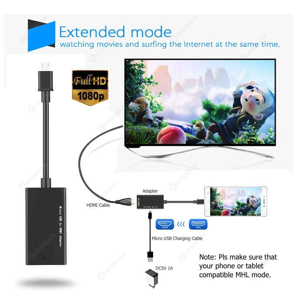 Micro USB to HDMI Adapter MHL Converter TV Monitor 1080P Audio Video Cable