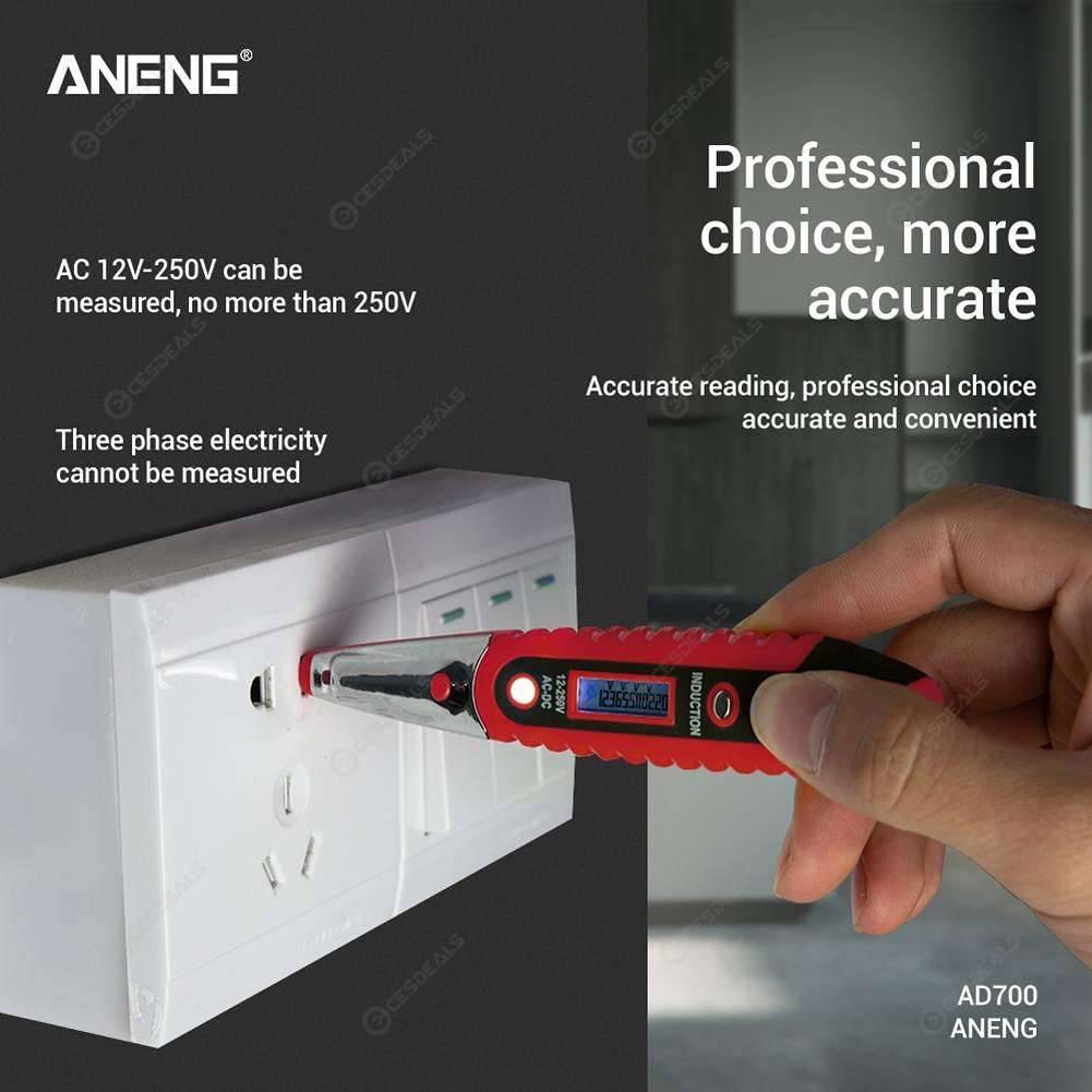 ANENG LCD Digital Display Voltage Test Pen Voltage Detector Tester (Red)